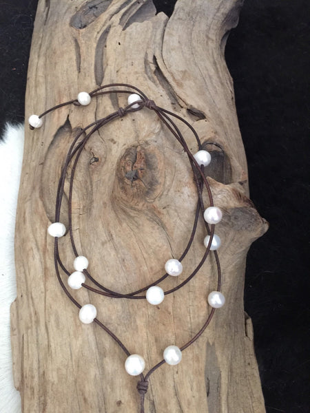 Triple Strand Freshwater Pearl and Leather Lariat Necklace
