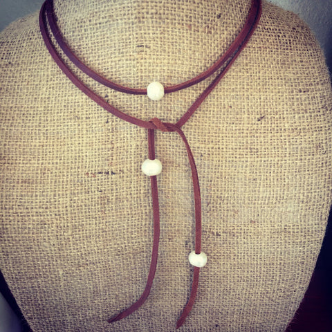 Deerskin Leather Lace and Freshwater Pearl Necklace, Leather and Pearls
