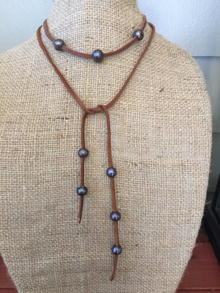 Deerskin Leather Lace and Freshwater Pearls Lariat, Leather and Pearls