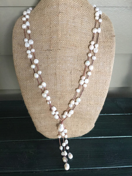 White Nugget Pearls and Leather Necklace - Versatile - Wears Two Ways