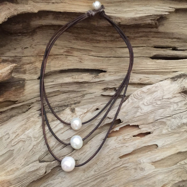 Triple Strand Freshwater Pearl and Leather Necklace