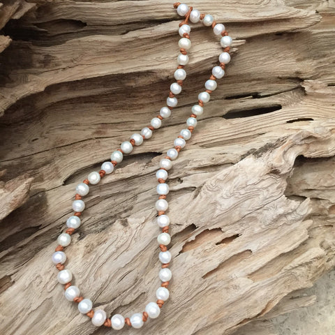 Double Knotted Pearl and Leather Necklace