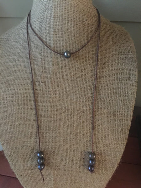 Versatile Peacock Pearls and Leather Necklace