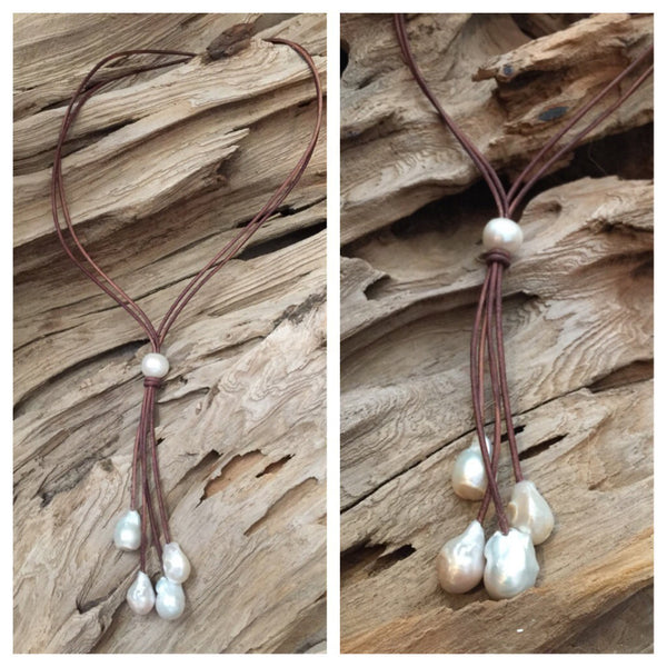 Fireball Pearl Drop Necklace