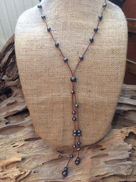 Grey Peacock Pearls and Leather Necklace