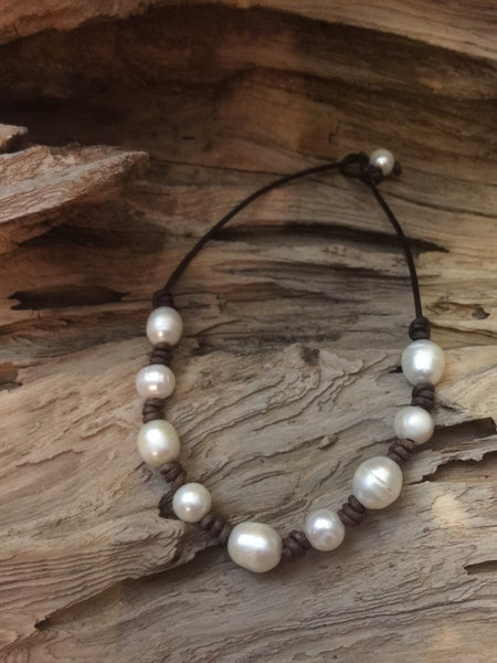Pearls and Leather Necklace - Freshwater Baroque Pearl and Leather Choker - Pearl and Leather Jewelry