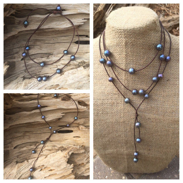 Peacock Pearl Lariat on Leather Cord