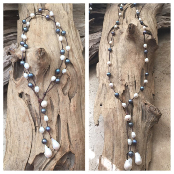 Black and White Freshwater and Peacock Pearls and Leather Versatile Necklace -  Wears 2 Ways
