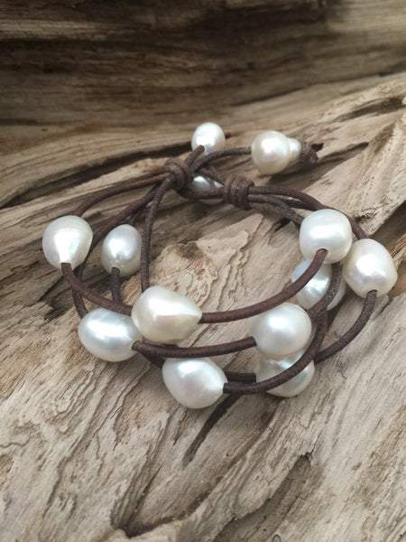 Freshwater Nugget Pearls and Leather Multi-Strand Bracelet