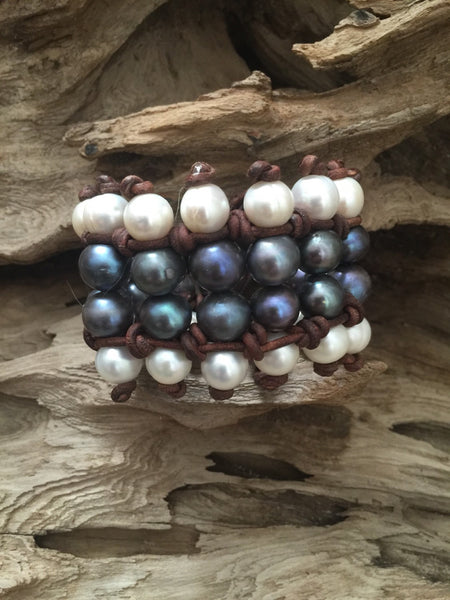 Pearl Cuff with Black and White Freshwater Pearls