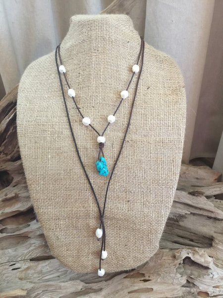 Turquoise and Freshwater Pearl and Leather Necklace
