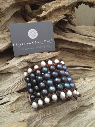 Six Row Freshwater Peacock Pearls and Leather Bracelet
