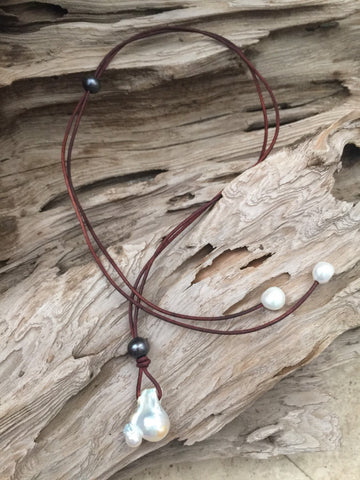 Fireball Pearl and Leather Necklace - Adjustable