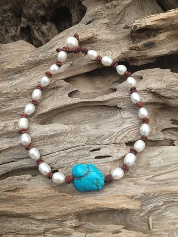 Turquoise and Pearls and Leather Necklace