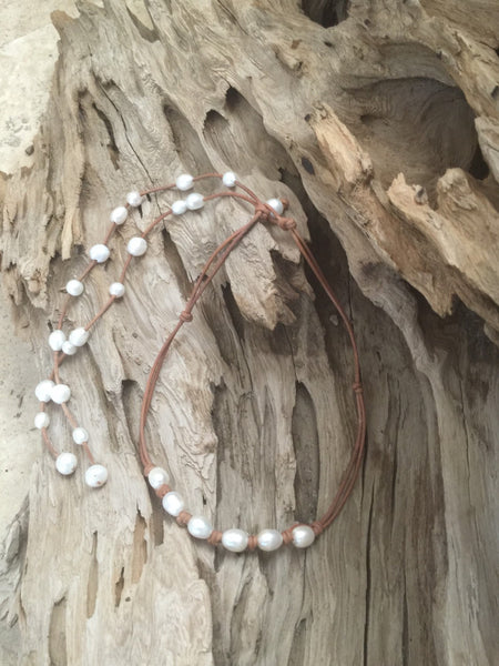 White Freshwater Pearl and Leather Necklace