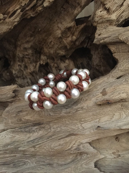 Pearl and Leather Cuff Style Bracelet
