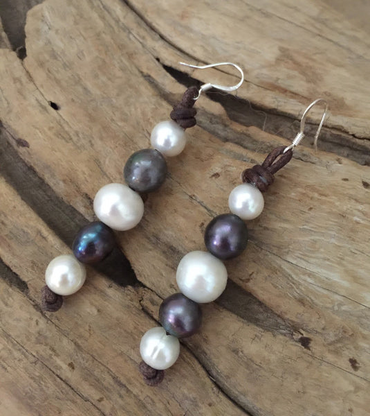 Black and White Pearl Earrings on Leather Cord