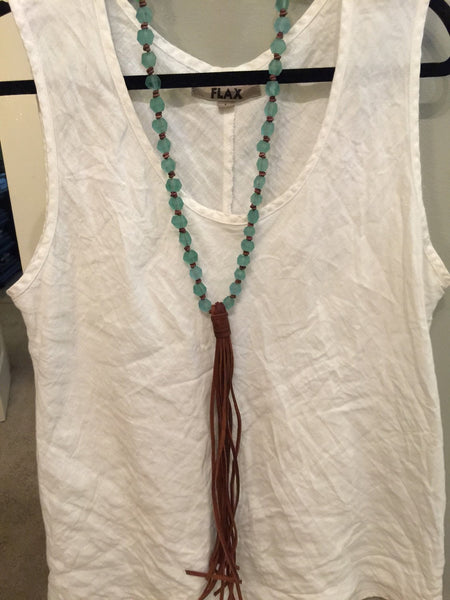 Leather Tassel Necklace with Aqua Glass Beads