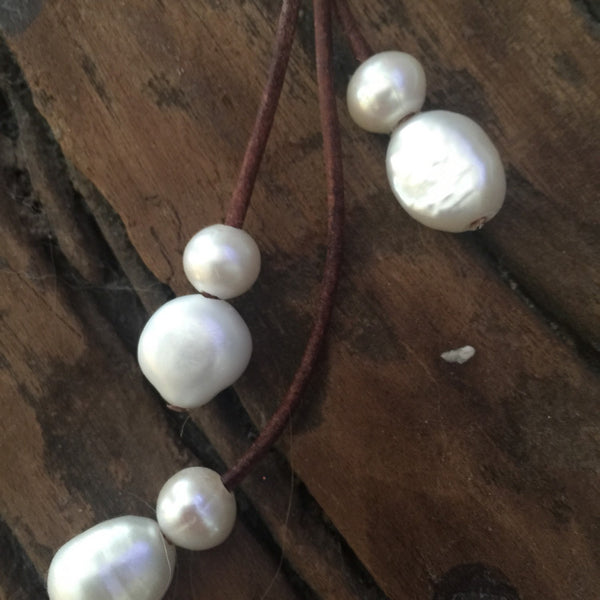 White Pearls on Leather Lariat Necklace