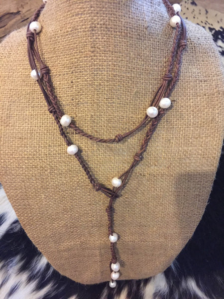 Braided Leather Lariat with Freshwater Baroque Pearls