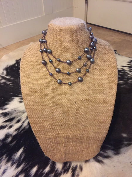 Peacock Pearls on Multi-Strand Leather Cord Necklace