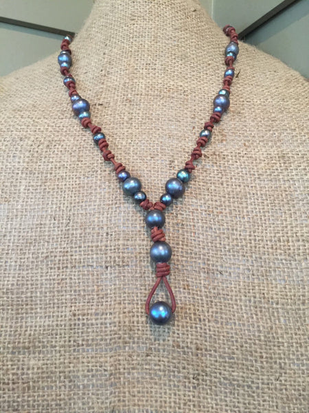 Peacock Pearls on Knotted Leather Necklace