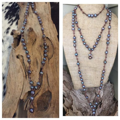 Peacock Pearls and Knotted Peather Necklace - EXTRA LONG - Adjustable Length