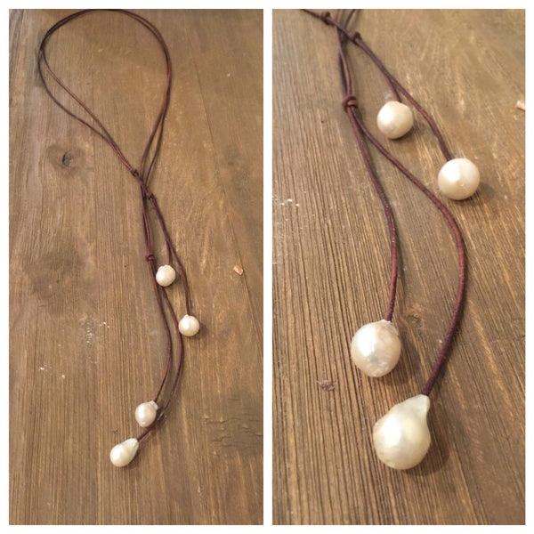 Fireball Pearl Lariat Necklace