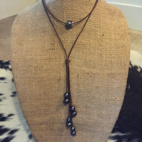 Black Baroque Pearl and Leather Necklace - Shown Layered