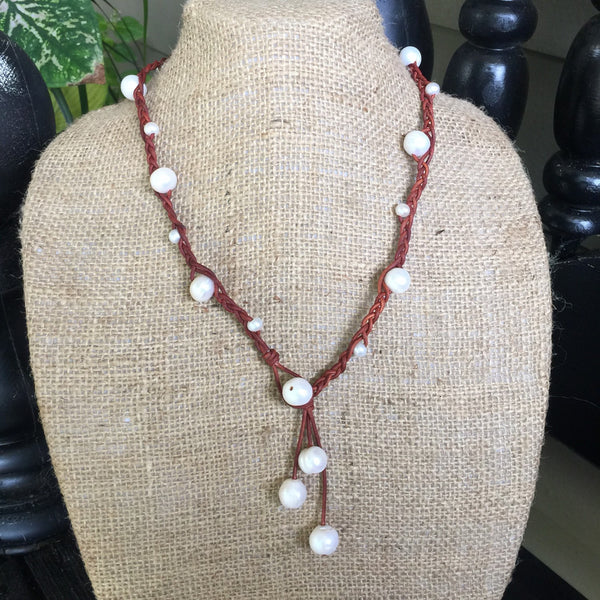 Pearls on Braided Leather Lariat Necklace