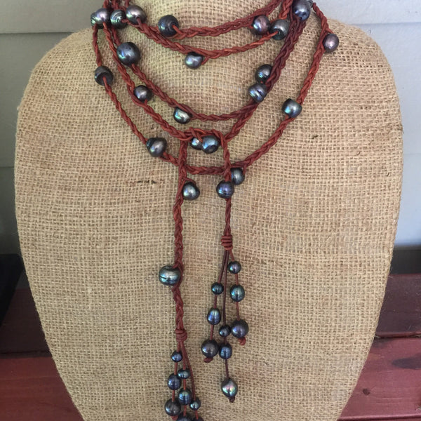 Pearl Wrap Necklace on Braided Leather