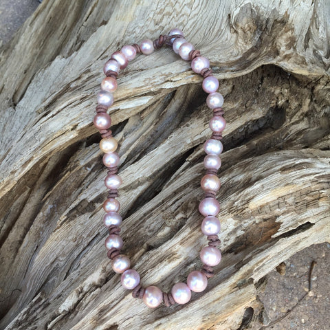 Pink Pearl Necklace on Leather Cord