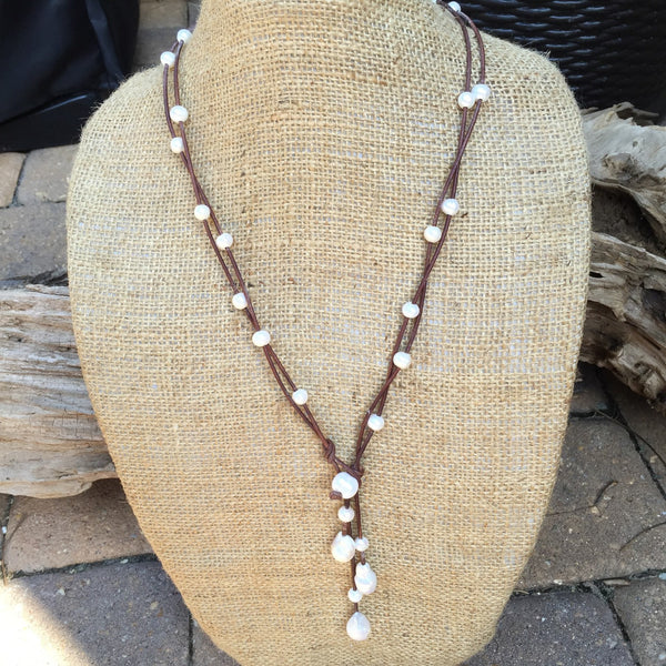 Pearl and Leather Dangle Necklace