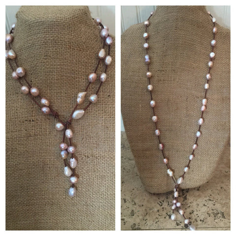 Pink Baroque Pearls and Leather Necklace - Wear Long or Short