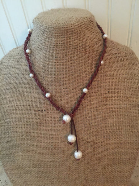 Braided Leather Larait with Freshwater Pearls