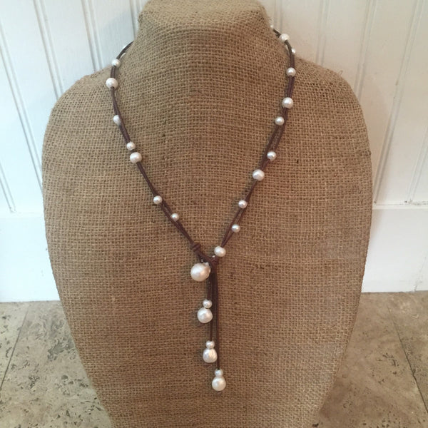 Tiny Pearl and Leather Lariat Style Necklace