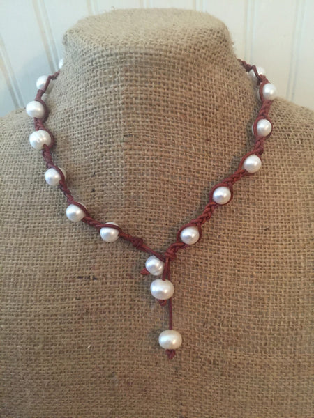 Pearl and Braided Leather Lariat Necklace
