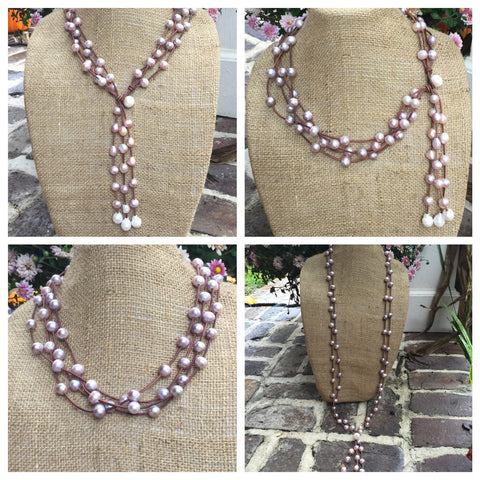 Pink Freshwater Pearls on Leather  Versatile Necklace