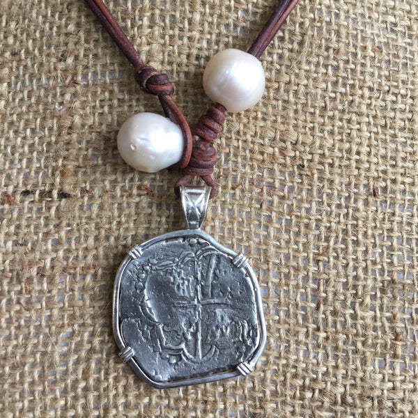 Shipwreck Coin and Pearl Necklace with Baroque Pearls