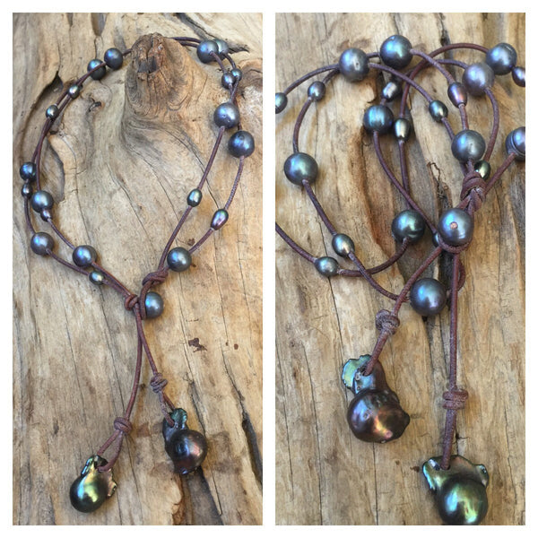 Peacock Pearl and Leather  Long Lariat with Black Fireball Pearl Drop