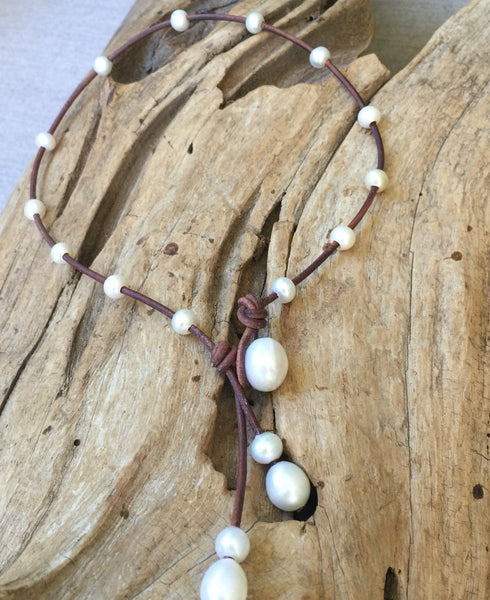 Tiny Round Freshwater Pearl and Leather Lariat
