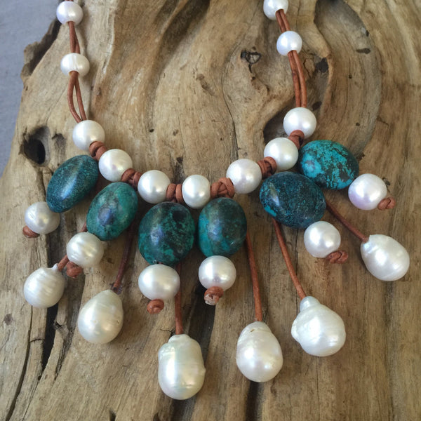 Turquoise and Baroque Freshwater Pearls and Leather Bib Necklace