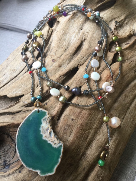 SALE!!  Half Off Now!!! Green Agate and Bead Necklace!