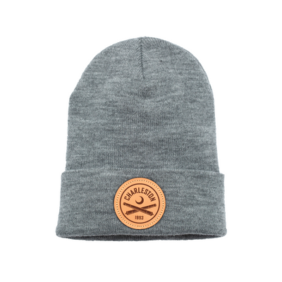 2020 Grey Beanie With Leather Patch