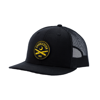 2020 Richardson Trucker Hat in Black With Black Patch Logo