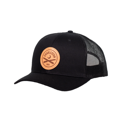 2020 Richardson Trucker Hat- Black With Leather Patch Logo
