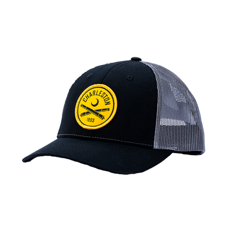 2020 Richardson Trucker Hat in Black/Grey With Yellow Patch Logo