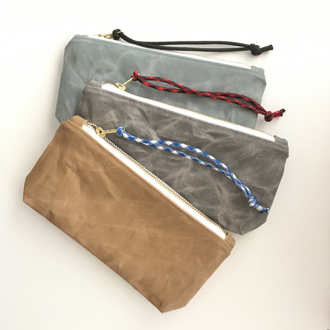 ONLINE SPECIAL! waxed canvas wristlet with pocket