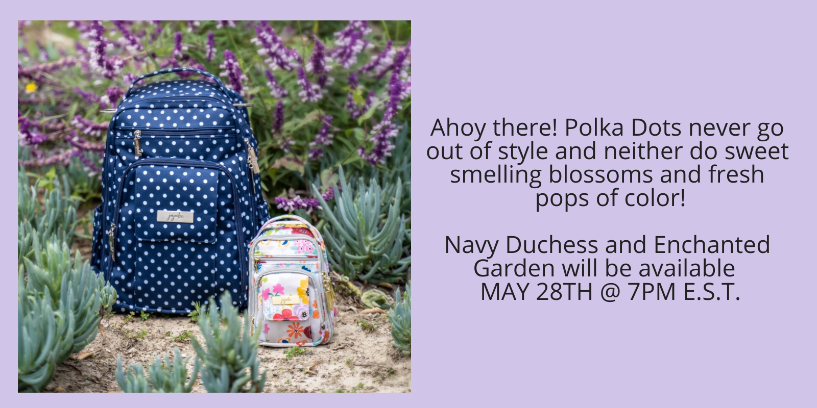 JuJuBe Diaper bags in Navy Duchess and Enchanted Garden prints