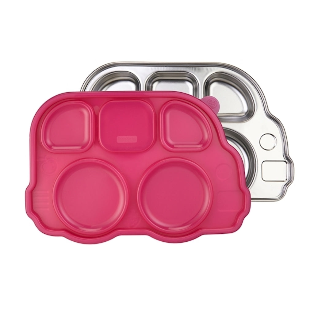 Innobaby - Din Din Smart Divided Stainless Platter with Lid - Pink